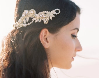 Gold Bridal Hair Vine. Gold Bridal Hair Piece. Bridal Beaded Headband {Valeria}