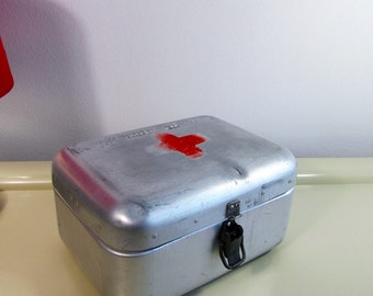 Vintage Small Hungarian Medical First Aid Aluminum Tin Box