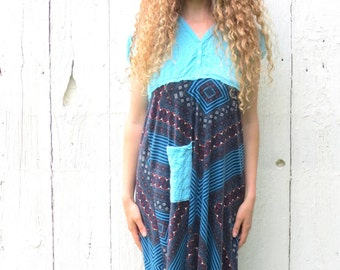 Turquoise Hoodie Dress - womens size medium spring dress - Upcycled recycled repurposed clothing - Bohemian Dress Eco friendly wearable art