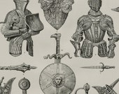1890 Antique print of ANCIENT ARMOURS. Shields. Helmets. Weapons. Cuirass. Swords. Middle Ages. 126 years old plate
