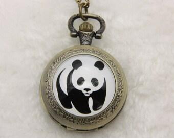 Necklace Pocket watch panda wwf