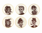 "6 Set Sugar Skull Vintage Altered Plates 7.5"" Porcelain Wedding Present Gift Grotesque Halloween Day of the Dead Dia De Los Muertos Mexico"