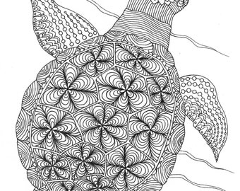 Sea Turtle Coloring Page - Kid Colouring - Adult Coloring - Instand Download Colouring