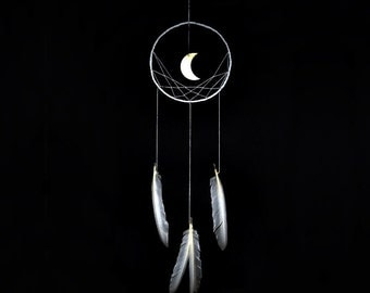 Wall hanging dreamcatcher, moon dream catcher, white, dream catcher, large, handmade, bedroom, nursery, home decor, modern, minimalist,