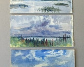 Vintage watercolour landscapes, Small countryside paintings, Stormy skies, Tress, Forest, Moody blues, Greys