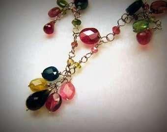 "Vintage 14k WHITE GOLD and Tourmaline FRINGE Necklace -- 18"" Long, 15.8g, Every Possible Color, Excellent Condition"