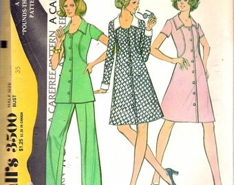 """Vintage 1973 McCall's 3500 Pounds Thinner Pattern ,Half Size Dress or Tunic & Pants  Knits Sewing Pattern Size 12 1/2 Bust 35"""" UNCUT"""