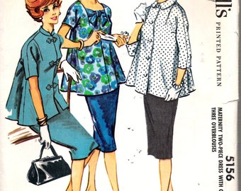 Vintage 1959 McCall's 5156 Maternity Two-Piece Dress with Choice of Three Over-Blouses Sewing Pattern Size 12 Bust 32""