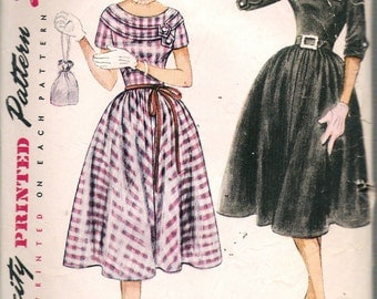 Vintage 1951 Simplicity 3710 Teen Age One Piece Dress Sewing Pattern Size 14 Bust 32""