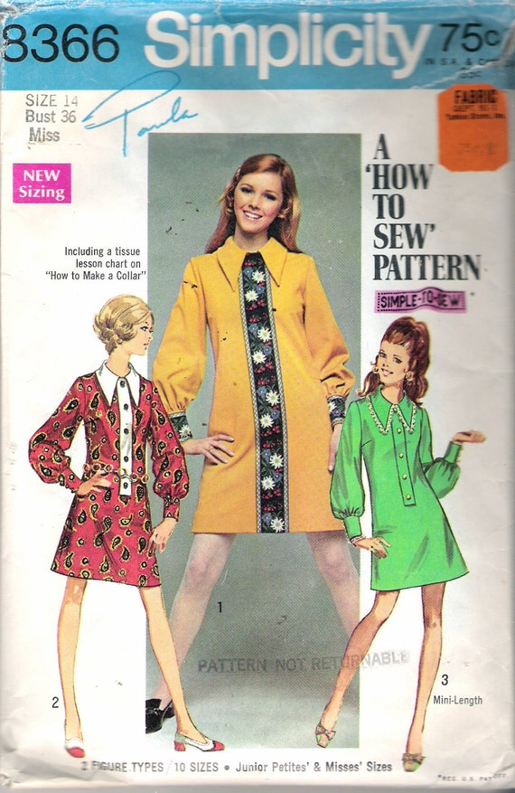 62be7699b Vintage 1969 Simplicity 8366 Mod Dress in Two Lengths Sewing Pattern Size  14 Bust 36