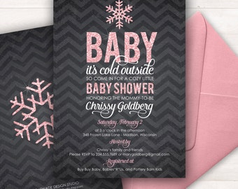 Baby Shower Invitation, Baby its Cold Outside Baby Shower Invitation, Baby Girl Baby Shower Invitation, Pink Glitter Printable Shower Invite