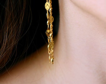 Long earrings, gold earrings, 14k earrings, Unique earrings, dangle earings, gold dangle earings, long gold earrings