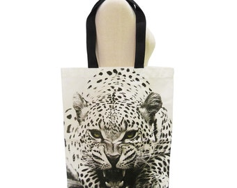 Tiger Bag Tiger Canvas Bag Animal Bag Shopping Bag Screen Print Handmade