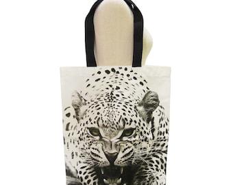Tiger Bag Tiger Canvas Bag Animal Bag Shopping Bag Screen Print Handmade