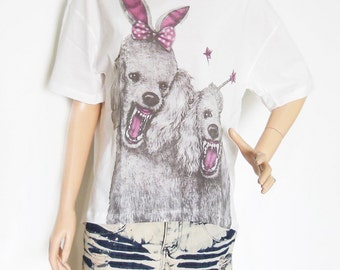 Dog Poodle Pink Shirt New Fashion Cute I Like Dog Animal Style Front Short Than White T-Shirt Crop Top Tee Shirt Screen Print Size L