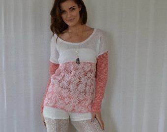 Coral Daisy Boxy Sweater