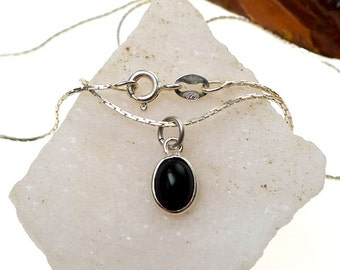 Sterling Silver Black Onyx Necklace, .925 Silver Black Onyx Gemstone Charm Necklace, Root Chakra Protection, Small Black Onyx Charm Necklace