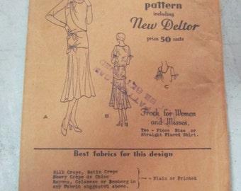 1920s Dress Pattern Butterick 3080 New Deltor Style Size 16 34 Bust