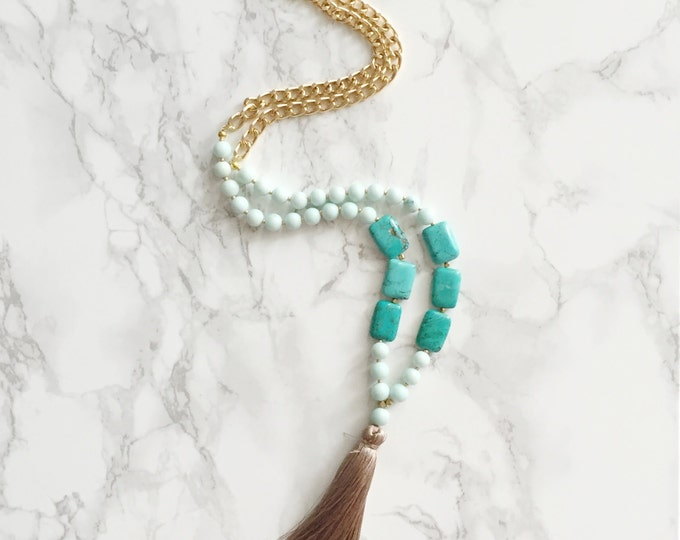 Beaded Tassel Necklace - Mint Green & Rectangle Turquoise