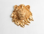 The Rico - Gold Mini Resin Lion Head - Resin Gold Faux Taxidermy- Chic & Trendy