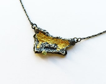 Yellow Sapphire and Cedar Bark Necklace, Sterling Silver, 18k and 24k gold