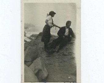 "Be Careful !!"", c1920s Vintage Snapshot Photo [510424]"