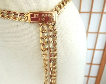Vintage 80s St John Belt in Gold Plated Heavy Link with St John Logo Buckle