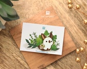 Himalayan Rabbit Pin (Brown and White Bunny)