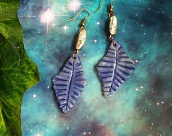 Turquoise and purple Abalone shell earrings