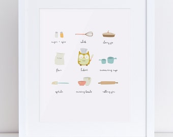 Let's Cook Owl Kitchen Baking Illustration Print 8x10 inches