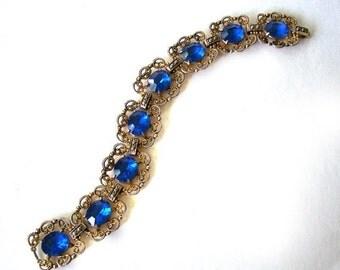 Blue Sapphire colored stones Bracelet Gold Tone
