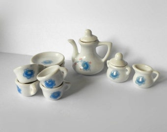 Vintage Miniature Mini Tea Coffee 13 piece Set with Creamer & covered Sugar Bowl, Cups Saucers  White Blue Flower