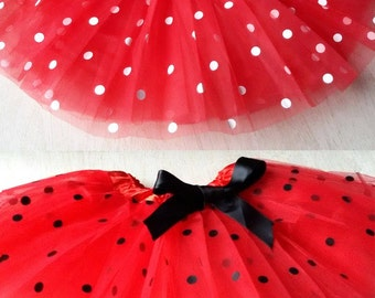 Ladybug tutu, Red Polka dot tutu, ladyBug Costume, Lady Bug Tutu, Red and Black Polka Dot Tutu, Red Tutu, Minnie Mouse Tutu