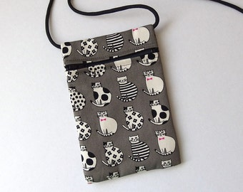 Pouch Zip Bag CATS GREY Fabric - great for walkers, markets, travel. Cell Phone Pouch. Small fabric Purse. Cross Body bag. black white cats