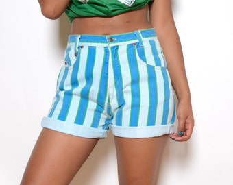 Vintage 80's Colorful Striped Denim High Waisted Shorts Sz 30W