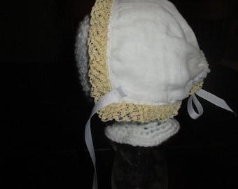 Vintage white linen hanky bonnet with grosgrain ties
