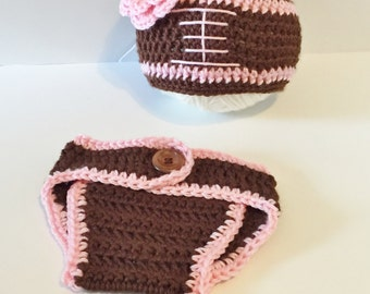 Baby Girl Football Hat Set, Crochet Football Hat, Diaper Cover, Baby Costumes, Baby Girl Clothing, Baby Girl Sports Hat, Photography Prop