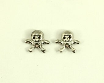 Silver Skull and Crossbone Magnetic Non Pierced Earrings