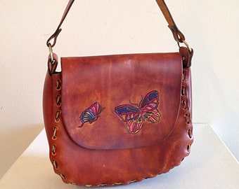 SALE!! Tooled Leather Butterfly Hippie Purse