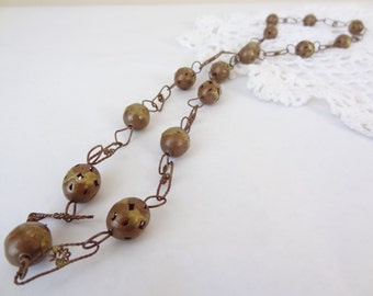 Vintage boho necklace copper wire beads chain jewelry