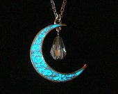 Crescent Moon Crystal Drop Necklace, Glow In The Dark Necklace, Moon Jewelry Pendant, Antique Silver (glows aqua blue)