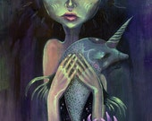 Oceanic Oracle - mermaid, dolphin, water spirit, fine art print, narwhal, spirit animal, shamanism, visionary art, art by phresha