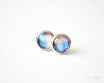 galaxy - dainty stud earrings / universe minimalist jewelry