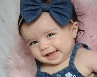 Large denim bow on nylon headband, one size baby headband, jean fabric bow, nylon headband, newborn photo prop, nylon headbands