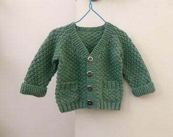Little boy green sweater, baby handknit, hand knitted shower gift, boy 3 months