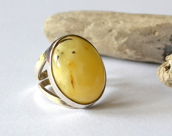 Natural Baltic Amber Ring, Simple Silver Ring, Egg Yolk Gemstone Ring, Amber Statement Jewelry, White Amber