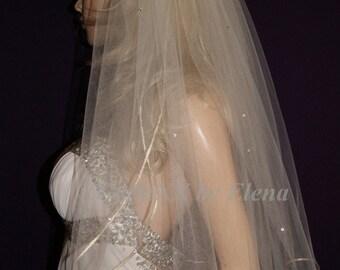 "Wedding Bridal Veils Shoulder  Elbow Fingertip Black Purple Pink Beige Blush Ivory 2 Tiers 72"" Width 28"" Length Gold Silver Edge Crystals"