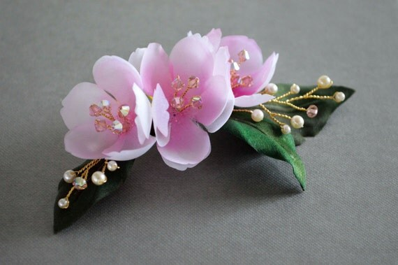 Cherry Flowers, Haircomb, Blush Pink, Bridal hair flowers,Vintage / Pin up Style, Wedding Accessories