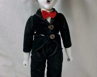 Vintage Charlie Chaplin Porcelain Doll with Stand, The Tramp, Silent Film Star, Clown, by Albert E. Price