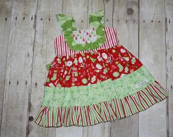 12m Ready to Ship Christmas Dress, Millie Dress, Flutter, Ruffle, Reindeer, OOAK, Santa, bib dress